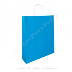 50 Bolsas Papel Azul 18x8x24 cm Asa Rizada