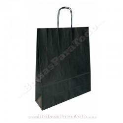 400 Bolsas Papel Negro 18x8x24 cm Asa Rizada