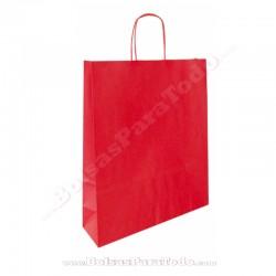50 Bolsas Papel Rojo 18x8x24 cm Asa Rizada