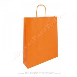 250 Bolsas Papel Naranja 35x14x44 cm Asa Rizada