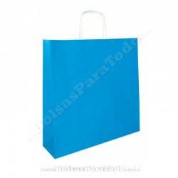 200 Bolsas Papel Azul 44x15x50 cm Asa Rizada