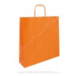 200 Bolsas Papel Naranja 44x15x50 cm Asa Rizada