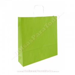 200 Bolsas Papel Verde 44x15x50 cm Asa Rizada