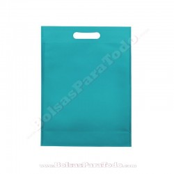 50 Bolsas TNT Azul Aguamarina 16x22,5+5 cm Asa Troquelada