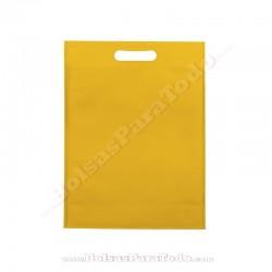 50 Bolsas TNT Amarillo 20x30+10 cm Asa Troquelada