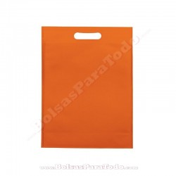 50 Bolsas TNT Naranja 30x40+10 cm Asa Troquelada