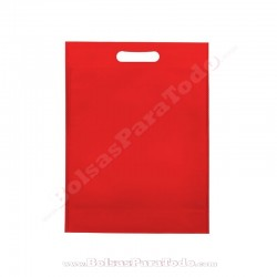 50 Bolsas TNT Rojo 30x40+10 cm Asa Troquelada