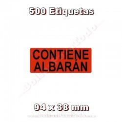 """1 Rollo de 500 adhesivos """"Contiene Albarán"""""""