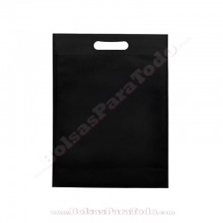 200 Bolsas TNT Negro 30x40+10 cm Asa Troquelada