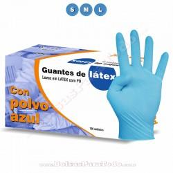 100 Guantes de Látex Azul con Polvo