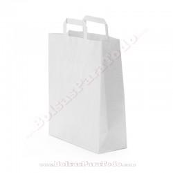 50 Bolsas Papel Blanco 26x12x35 cm Asa Plana
