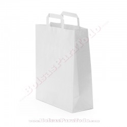 1000 Bolsas Papel Blanco 26x12x35 cm Asa Plana