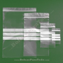 30000 Bolsas PE G-160 12x18 cm con Cierre Zip y Bandas