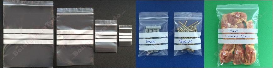Bolsas de Polietileno con Autocierre Zip y Bandas de Escritura