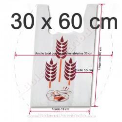 500 Bolsas de Camiseta 30x60 cm Pan