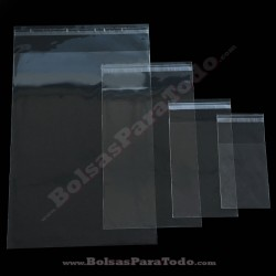100 Bolsas PP 25x35 cm con Solapa Adhesiva