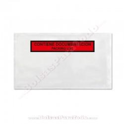 250 Bolsas Contiene Documentación 23,5x13,2 cm