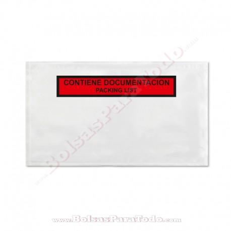 1000 Bolsas Contiene Documentación 23,5x13,2 cm