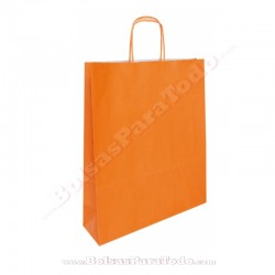 250 Bolsas Papel Naranja 25x10x32 cm Asa Rizada