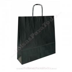 200 Bolsas Papel Negro 44x15x50 cm Asa Rizada
