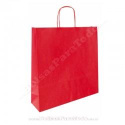 200 Bolsas Papel Rojo 44x15x50 cm Asa Rizada