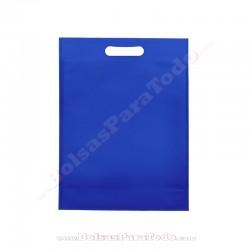 50 Bolsas TNT Azul Eléctrico 20x30+10 cm Asa Troquelada