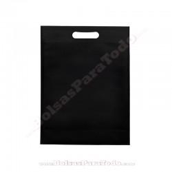 50 Bolsas TNT Negro 20x30+10 cm Asa Troquelada