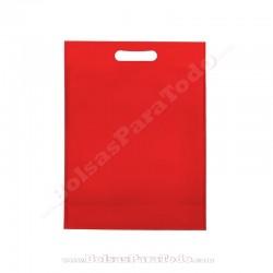 50 Bolsas TNT Rojo 20x30+10 cm Asa Troquelada