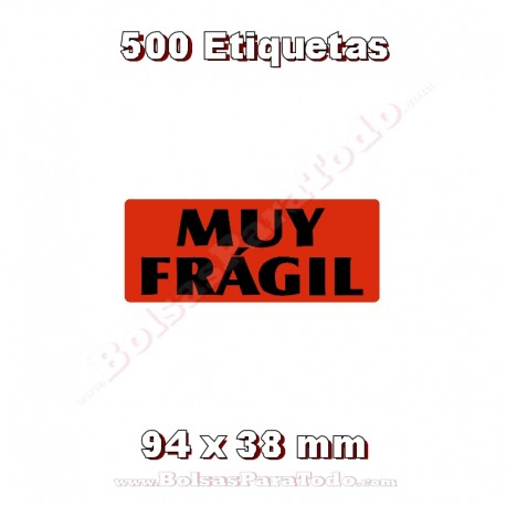"""1 Rollo de 500 adhesivos """"Muy frágil"""""""