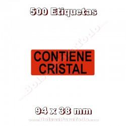 """1 Rollo de 500 adhesivos """"Contiene cristal"""""""
