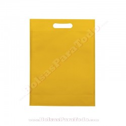 200 Bolsas TNT Amarillo 20x30+10 cm Asa Troquelada