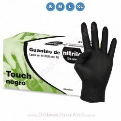 100 Guantes de Nitrilo Negro Touch