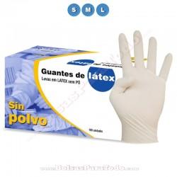 100 Guantes de Látex Natural sin Polvo