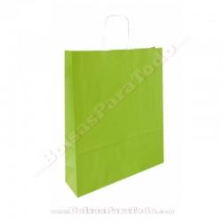 50 Bolsas Papel Verde 25x10x32 cm Asa Rizada