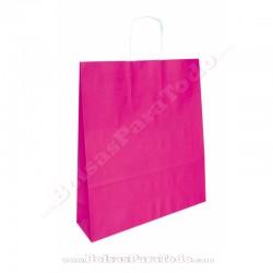 50 Bolsas Papel Rosa 25x10x32 cm Asa Rizada