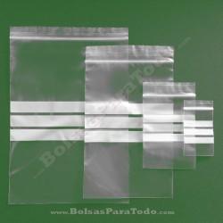 100 Bolsas PE G-160 12x18 cm con Cierre Zip y Bandas