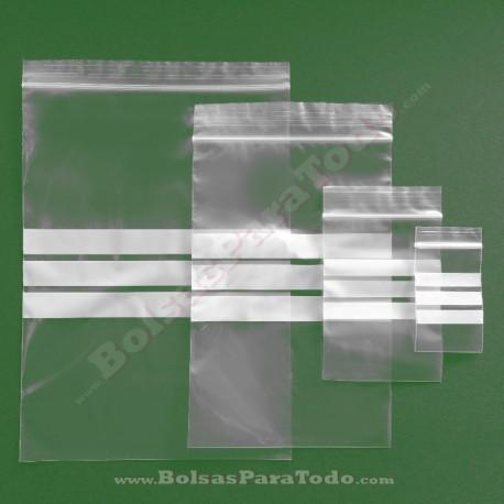 2000 Bolsas PE G-160 16x22 cm con Cierre Zip y Bandas