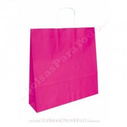 50 Bolsas Papel Rosa 44x15x50 cm Asa Rizada