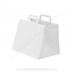 1000 Bolsas Papel Blanco 26x17x25 cm Asa Plana