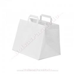 50 Bolsas Papel Blanco 32x21x27 cm Asa Plana