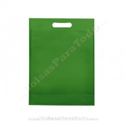 200 Bolsas TNT Verde 20x30+10 cm Asa Troquelada