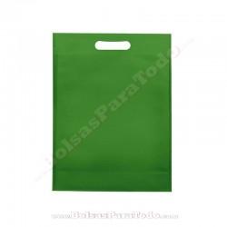 200 Bolsas TNT Verde 30x40+10 cm Asa Troquelada