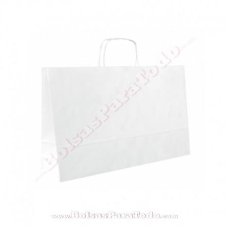 50 Bolsas Papel Blanco 41x12x32 cm Asa Rizada