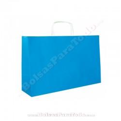 50 Bolsas Papel Azul 28x10x22 cm Asa Rizada