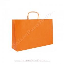 250 Bolsas Papel Naranja 28x10x22 cm Asa Rizada