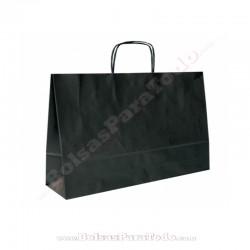 50 Bolsas Papel Negro 28x10x22 cm Asa Rizada