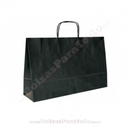 250 Bolsas Papel Negro 28x10x22 cm Asa Rizada
