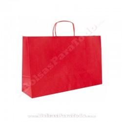 50 Bolsas Papel Rojo 28x10x22 cm Asa Rizada