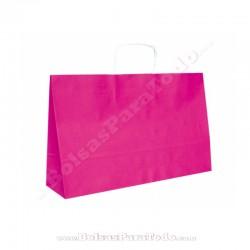 50 Bolsas Papel Rosa 28x10x22 cm Asa Rizada