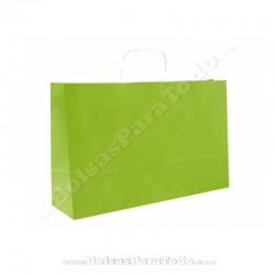 250 Bolsas Papel Verde 28x10x22 cm Asa Rizada